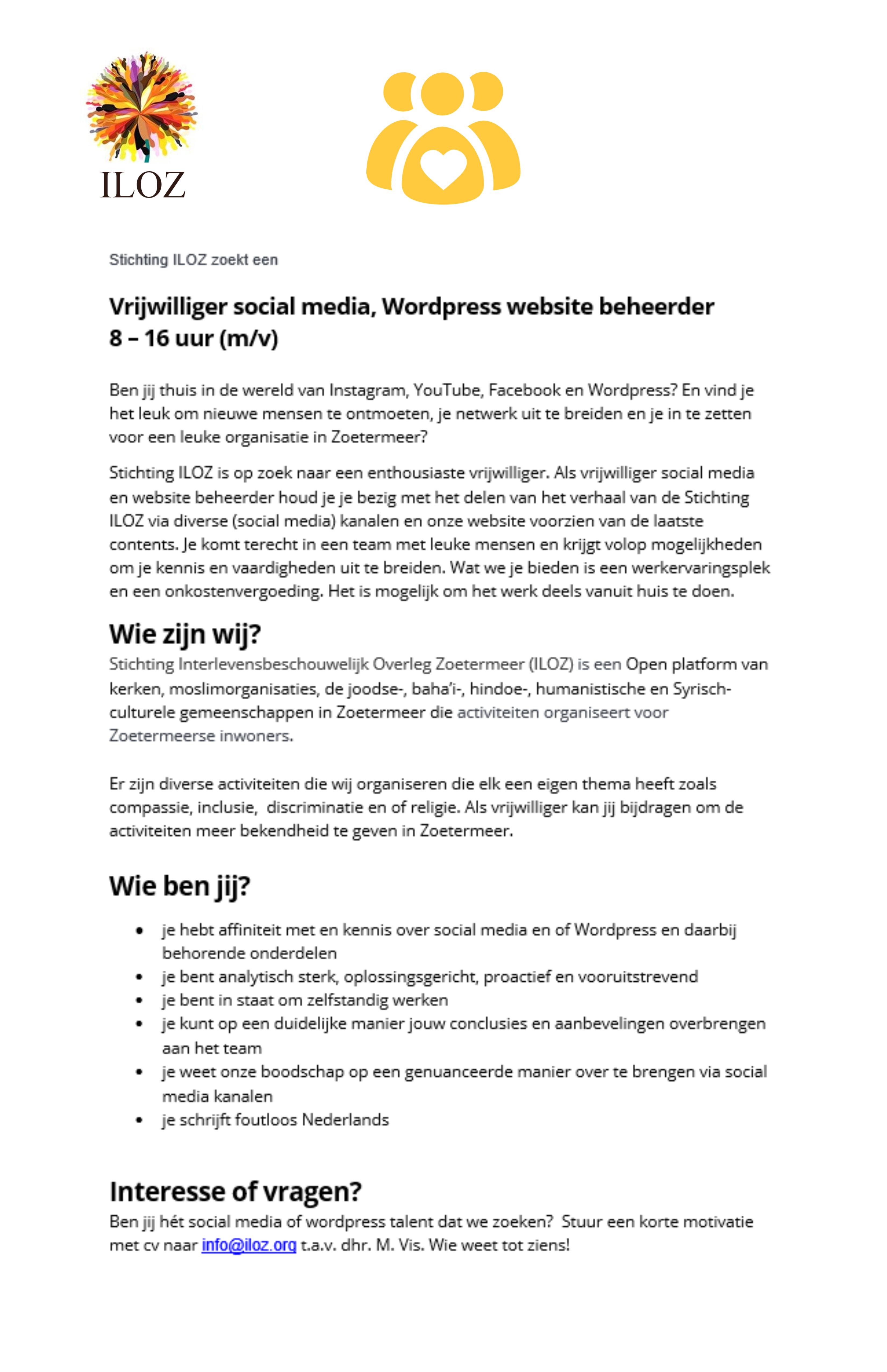 Gezocht Vrijwilliger social media, WordPress website beheerder 8 – 16 uur (m/v)